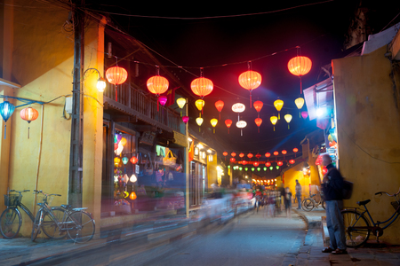 hdri: Night view of a street in Hoi An, Vietnam. Hoi An is the Worlds Cultural heritage site, famous for mixed cultures and architecture. Stock Photo