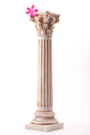 afecto: Classical column with flower isolated on white background, conceptual metaphor for love, beauty, and affection.