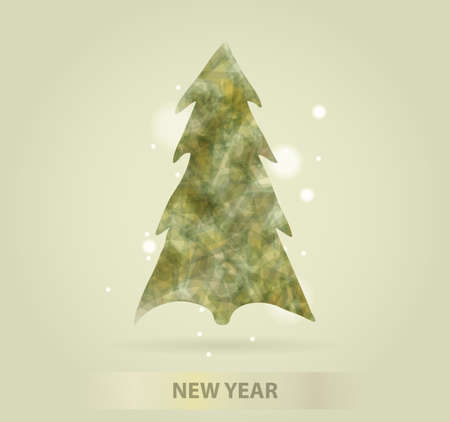 evergreen tree: Abstract christmas tree icon or  concept. Silhouette of evergreen tree filled with colorful abstract pattern with added text and snowflakes.