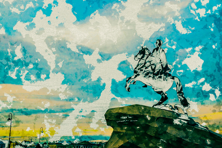 uomo a cavallo: The Bronze Horseman - equestrian statue of Peter the Great in Staint-Petersburg, Russia. One of the major tourist attractions. Modern painting, background illustration. Archivio Fotografico
