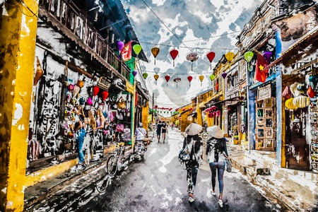Two asian female tourists in traditional vietnamese conical hats walk on a street in Hoi Ah, Vietnam. Modern painting, background illustration. Banque d'images