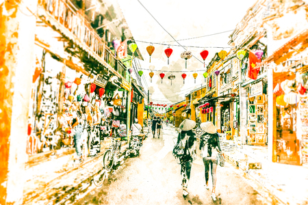 Two asian female tourists in traditional vietnamese conical hats walk on a street in Hoi Ah, Vietnam. Modern painting, background illustration. Imagens