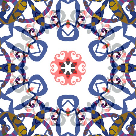 background kaleidoscope: Vector seamless pattern background with different geometrical shapes of multiple colors. Illustration with symmetrical design, abstract background. Kaleidoscope background. Modern background template.