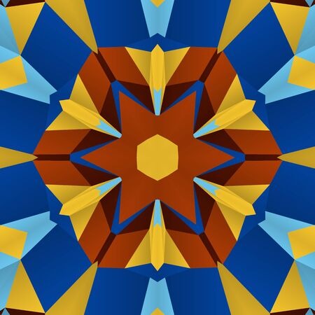 symmetrical design: Vector seamless pattern background with different geometrical shapes of multiple colors. Illustration with symmetrical design. Kaleidoscope backdrop. Modern banner design template.