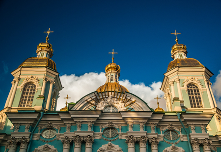 popularly: Saint Nicholas Cathedral, Nikolsky sobor, popularly known as the Sailors Chruch in Saint Petersburg, Russia at twilight time.