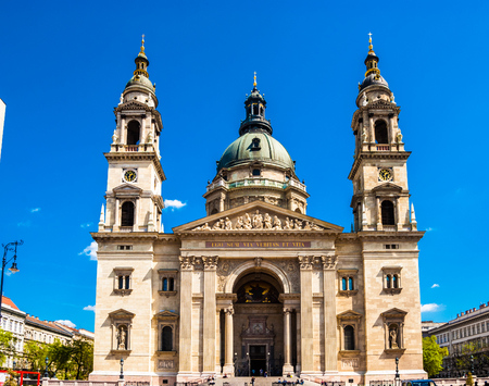 saint stephen cathedral: Facade of St. Stephens Basilica in Budapest, Hungary.