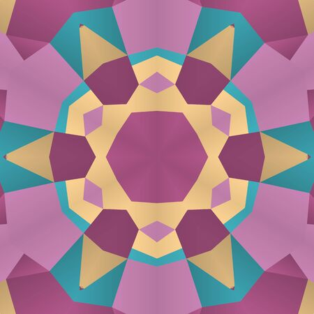 dens: Vector seamless pattern background with different geometrical shapes of multiple colors. Illustration with symmetrical design. Kaleidoscope backdrop. Modern banner design template.