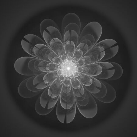 greyscale: Macro closeup of fractal flower, digital artwork for creative graphic design