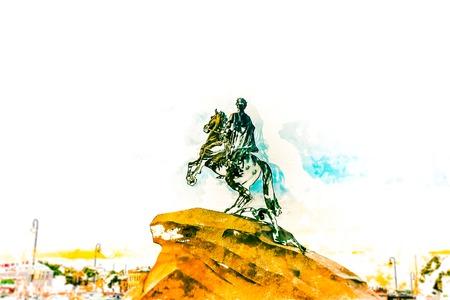 uomo a cavallo: Il cavaliere di bronzo - statua equestre di Pietro il Grande in Staint Pietroburgo, Russia. Una delle principali attrazioni turistiche. pittura moderna, illustrazione.