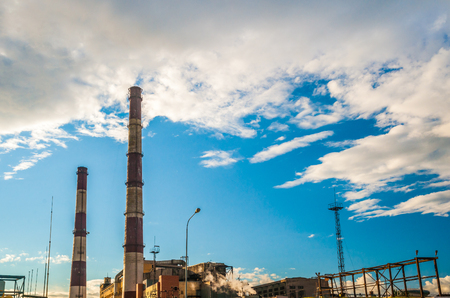 fuel and power: Coal Fossil Fuel Power Plant with Smokestacks, energy plant in sunset light.