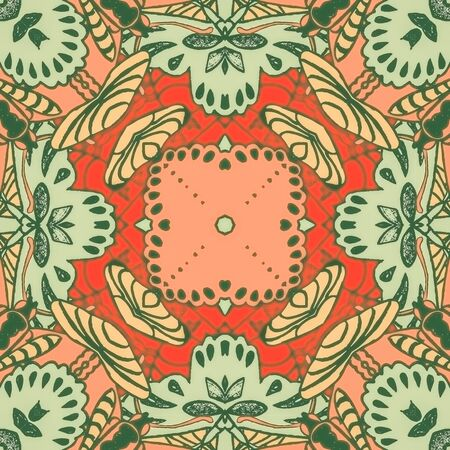 illustration seamless pattern background with different geometrical shapes of multiple colors. Illustration with symmetrical design. Kaleidoscope backdrop. Modern banner design template.