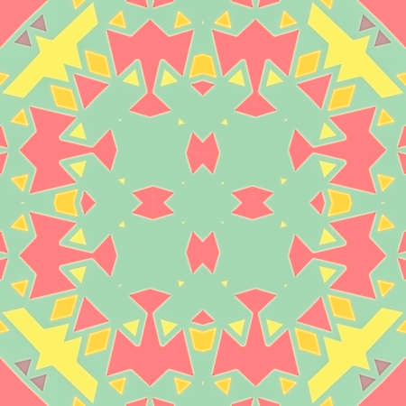 symmetrical design: illustration seamless pattern background with different geometrical shapes of multiple colors. Illustration with symmetrical design. Kaleidoscope backdrop. Modern banner design template.