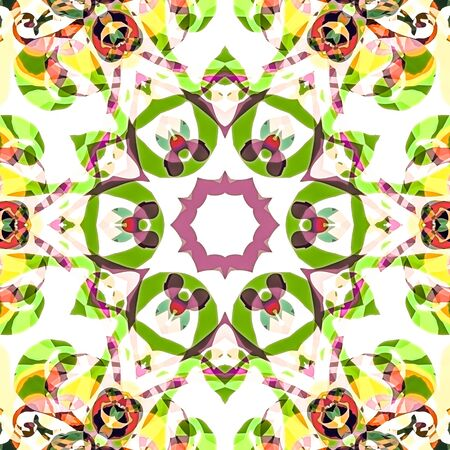 background kaleidoscope: illustration seamless pattern background with different geometrical shapes of multiple colors. Illustration with symmetrical design, abstract background. Kaleidoscope background. Modern background template. Stock Photo