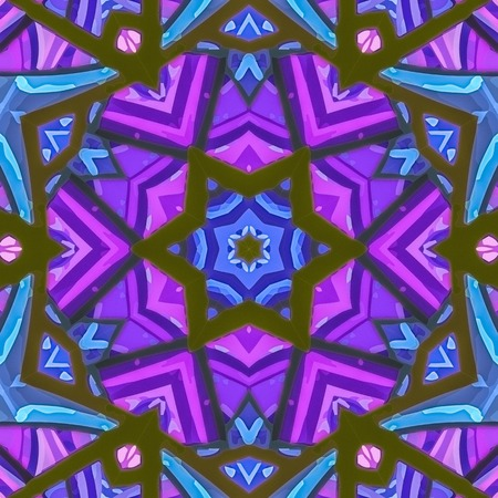 nature abstract: Stained glass pattern. Seamless symmetrical background template.  Multicolored vivid design element. Bright and beautiful kaleidoscopic texture for design uses