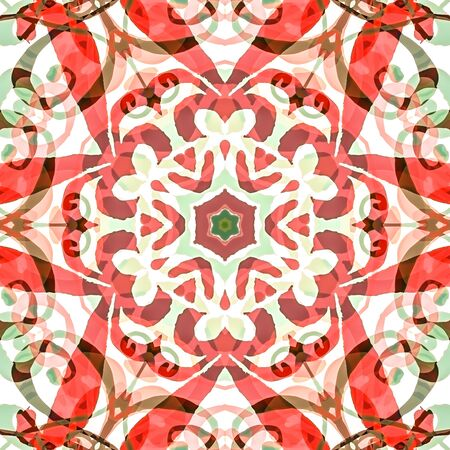 style geometric: illustration seamless pattern background with different geometrical shapes of multiple colors. Illustration with symmetrical design. Kaleidoscope backdrop. Modern banner design template.