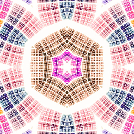 scientifical: Abstract kaleidoscopic pattern. Seamless tiles with symmetrical pattern. Colorful background template for different design uses. Stock Photo