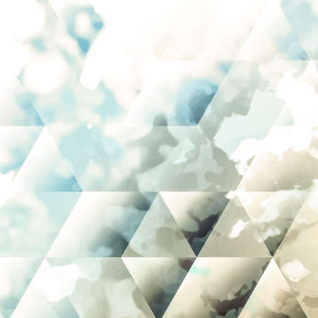spattered: Abstract background texture with blue strokes of paint ang transparent triangular shapes. Stylish texture for use as a background. Abstract representations of blue sky, clouds or water.