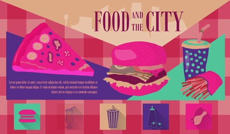 Fast food vector illustration with fries, cola, burger and pizza. Design elements for print, web, and other uses. Colorful stylish fast food icons on colored background with place for text and caption