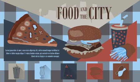 Restauration rapide illustration vectorielle avec des frites, cola, hamburger et pizza. Les éléments de conception pour l'impression, le web, et d'autres utilisations. Colorful icônes de restauration rapide élégantes sur fond de couleur avec place pour le texte et la légende