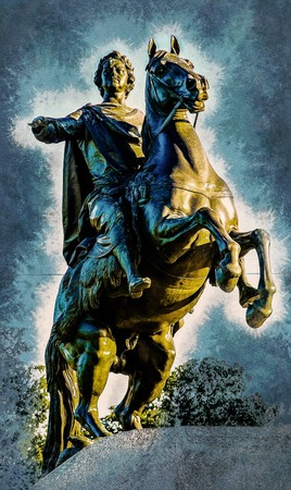 Bronze Horseman, equestrian statue of Peter the Great, Saint Petersburg, Russia. Vintage painting, background illustration, beautiful picture, travel texture Stock Photo
