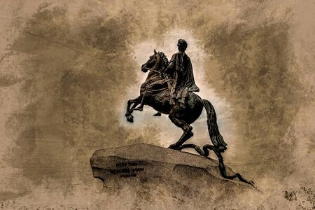 peter the great: The Bronze Horseman - equestrian statue of Peter the Great in Staint-Petersburg, Russia. Vintage painting, background illustration, beautiful picture, travel texture