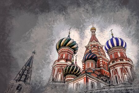 st  basil: St. Basil Cathedral of the Protection of the Virgin on the Ditch Moscow. Modern painting, background illustration, beautiful picture, creative image.