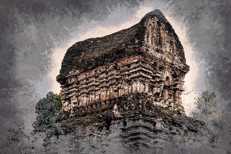Mon Fils, tamples Ancient hindoues de la culture Cham au Vietnam près des villes de Hoi An et Da Nang. Peinture vintage, illustration de fond, belle image, texture Voyage Banque d'images - 60014015