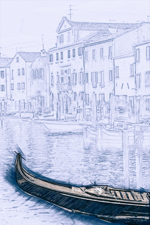 forefront: Beautiful colorful image of a canal in Venice with moorings and gondola in the forefront and old houses under blue cloudy sky in the background. Painting of travel scene, pencil outlines of background