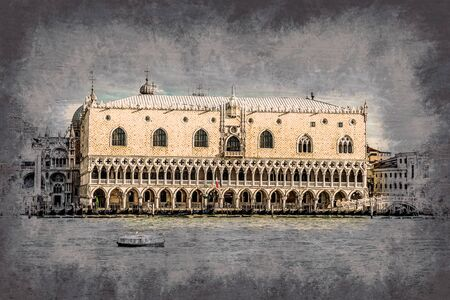 doges: Piazza di San Marco view on Piazza di San Marco from a boat. Modern painting, background illustration, beautiful picture, creative image. Stock Photo