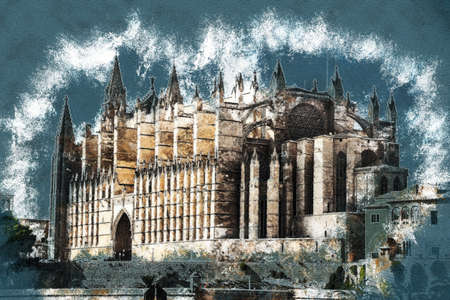 Cathedral of Palma de Mallorca, rear view from road. Big gothic church on the sea shore. Beautiful travel picture of Spain. Vintage painting, background illustration, beautiful picture, travel texture Stock Photo