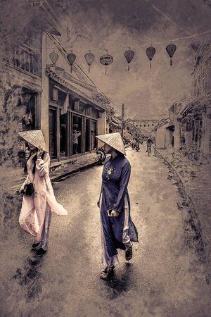 歴史ベトナム語で 2 つのアジア女性観光客服、ベトナムのホイアンの街に徒歩。ヴィンテージ塗装、背景イラスト、美しい絵、旅行テクスチャ