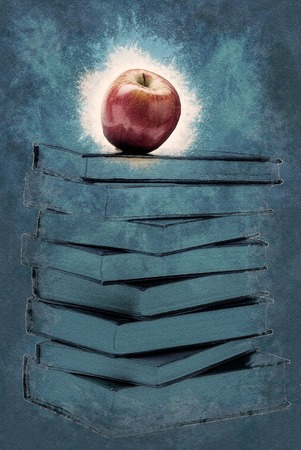 sayings: Stack of Old Books With an Apple on Top isolated on white. Vintage painting, background illustration, beautiful picture, educational texture