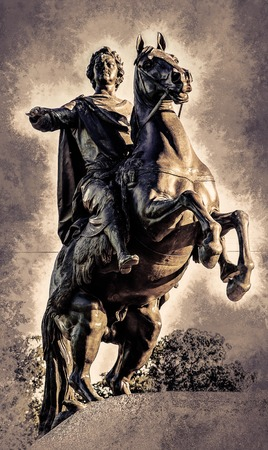 horseman: Bronze Horseman, equestrian statue of Peter the Great, Saint Petersburg, Russia. Vintage painting, background illustration, beautiful picture, travel texture Stock Photo