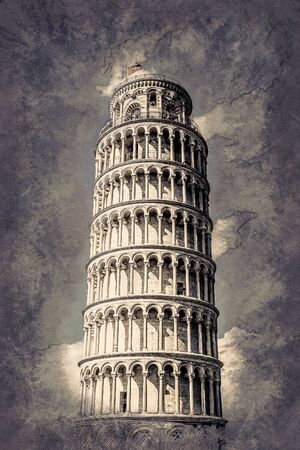 miracoli: View of Leaning tower, Piazza dei miracoli, Pisa, Italy. Vintage painting, background illustration, beautiful picture, travel texture