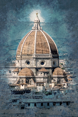 Cathedral of Santa Maria del Fiore in Florence, Italy. Vintage painting, background illustration, beautiful picture, travel texture