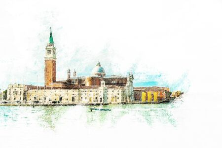 st  marks square: Piazza di San Marco view on Piazza di San Marco from a boat. Vintage painting, background illustration, beautiful picture, travel texture