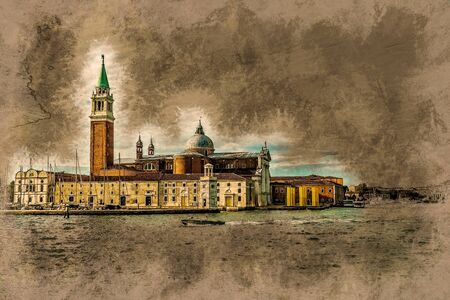 campanile: Piazza di San Marco view on Piazza di San Marco from a boat. Vintage painting, background illustration, beautiful picture, travel texture