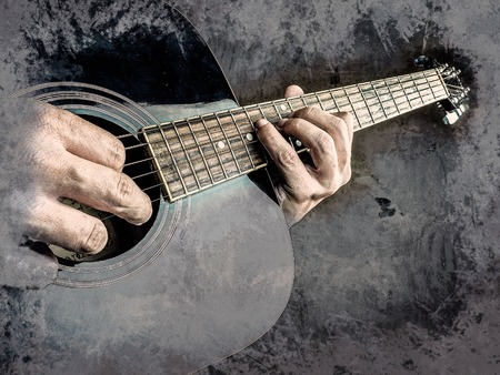 fingertips: Closeup photo of an acoustic guitar played by a man. Only hands visible. Vintage painting, background illustration, beautiful picture, musical texture