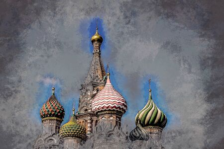 st  basil: St. Basil Cathedral of the Protection of the Virgin on the Ditch Moscow. Vintage painting, background illustration, beautiful picture, travel texture Stock Photo