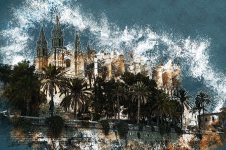 Cathedral of Palma de Mallorca viewed through lush greenery of the island. Vintage painting, background illustration, beautiful picture, travel texture Stock Photo