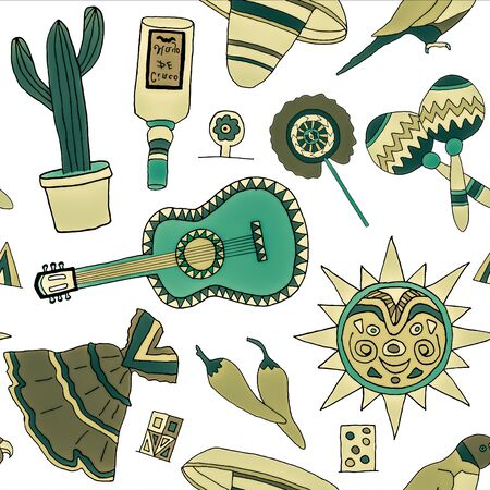 mexican background: Seamless pattern with hand drawn mexican elements. Perfect background for your design. Travel to Mexico texture.