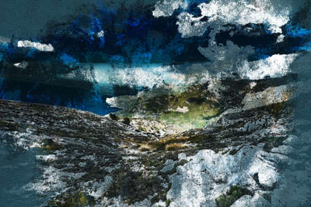 mallorca: Beautiful landscape view of rocky mountains and clouds on the western part of Mallorca island, Spain. Vintage painting, background illustration, beautiful picture, travel texture