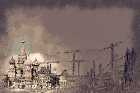 st  basil: St. Basil church in Moscow beside big construction cranes and flags. Vintage painting, background illustration, beautiful picture, travel texture Stock Photo