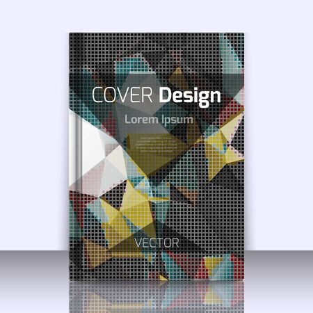 printed media: Abstract background with colorful triangles and space for text. Texture for covers, banners, booklets, etc. For web or printed media.