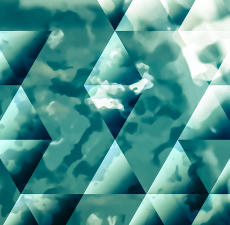 sponged: Abstract background texture with blue strokes of paint ang transparent triangular shapes. Stylish texture for use as a background. Abstract representations of blue sky, clouds or water.