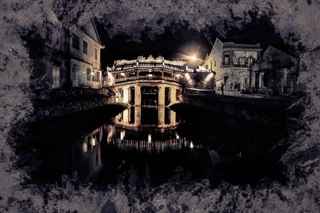 ponte giapponese: Old japanese bridge at night in Hoi An, Vietnam. Modern painting, background illustration, beautiful picture, creative image.