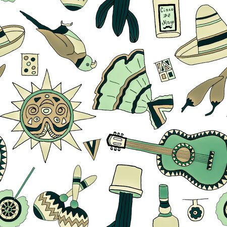 enchiladas: Seamless pattern with fiesta elements. Meaxican holiday background with hand drawn doodles.