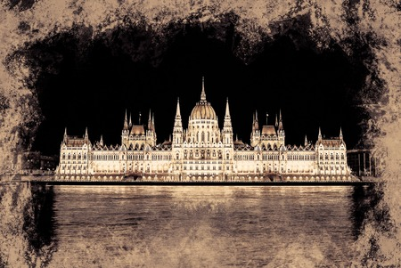 neogothic: The Hungarian Parliament Building .Vintage painting, background illustration, beautiful picture, travel texture
