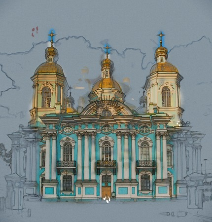 sobor: Saint Nicholas Cathedral, Nikolsky sobor, popularly known as the Sailors Chruch in Saint Petersburg, Russia . Vintage painting, background illustration, beautiful picture, travel texture
