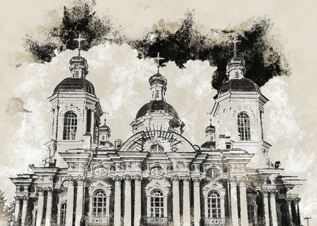 sobor: Saint Nicholas Cathedral, Nikolsky sobor, popularly known as the Sailors Chruch in Saint Petersburg, Russia. Vintage painting, background illustration, beautiful picture, travel texture